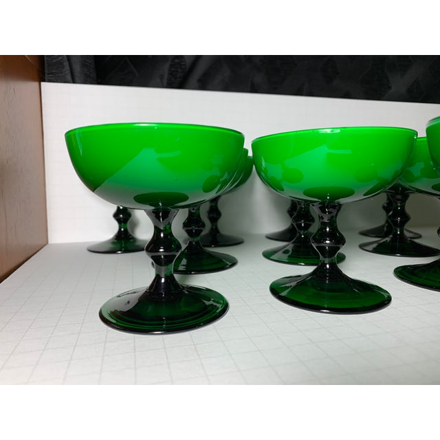 1960s Carlo Moretti Emerald Green and White Cased Glass Champagne Goblets - Set of 12 For Sale In Chicago - Image 6 of 13