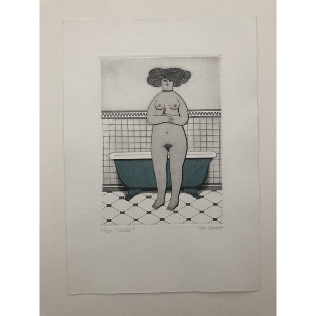 Figurative Female Nude Etching Winter Jan Balet Etching 1960s For Sale - Image 3 of 7
