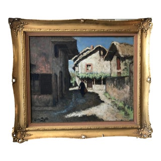 Early 20th Century French Village Scene Oil Painting, Framed For Sale