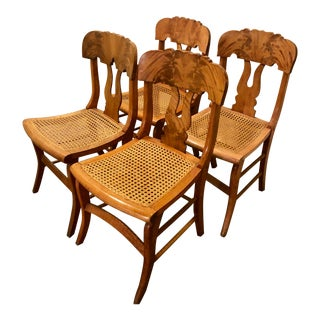 Fiddleback Curly Birdseye Maple Cane Chairs - Set of 4 For Sale