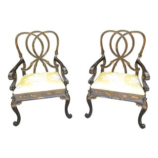 Chinoiserie Decorated Oversized Open Arm Chairs- A Pair For Sale