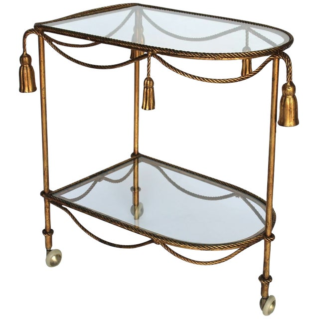 Rope & Tassel Bar Cart - Image 1 of 6