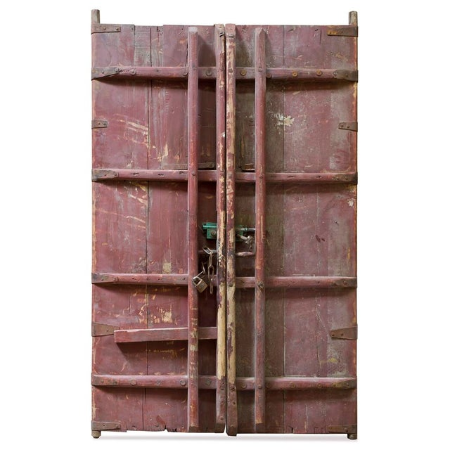 Vintage Chinese Wooden Temple Doors With Iron Hardware For Sale - Image 4 of 5