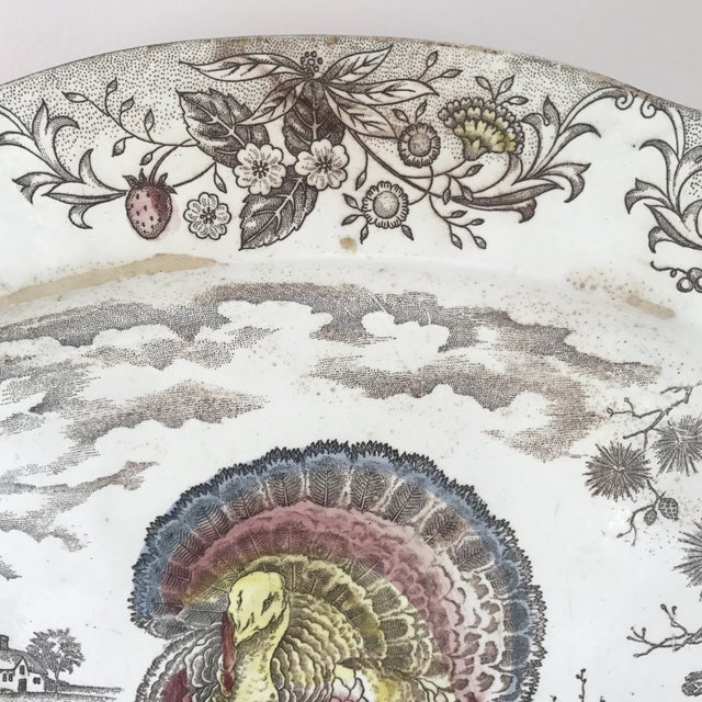 Japanese Transferware Turkey Platter For Sale - Image 4 of 9