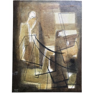 Mid Century Cubist Figure Painting Signed For Sale