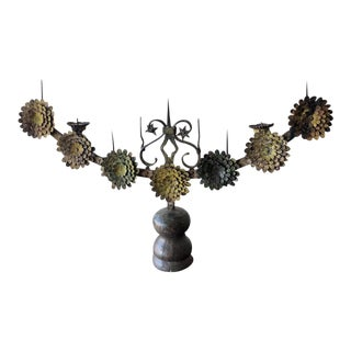 Italian Antique Candelabra With Stylized Flowers For Sale