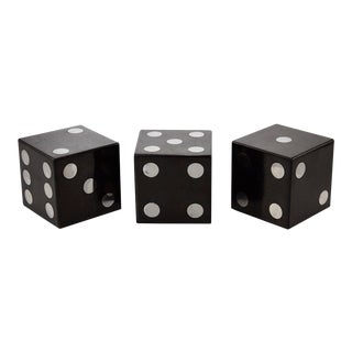 1990s Postmodern Oversized Black Tessellated Stone Dice - Set of 3 For Sale