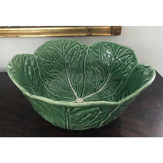 "Bordallo Pinheiro Cabbage Leaf Salad Bowl. Very useful size, 11 1/2"" wide and 5"" deep, suitable for lots of purposes. Very..."