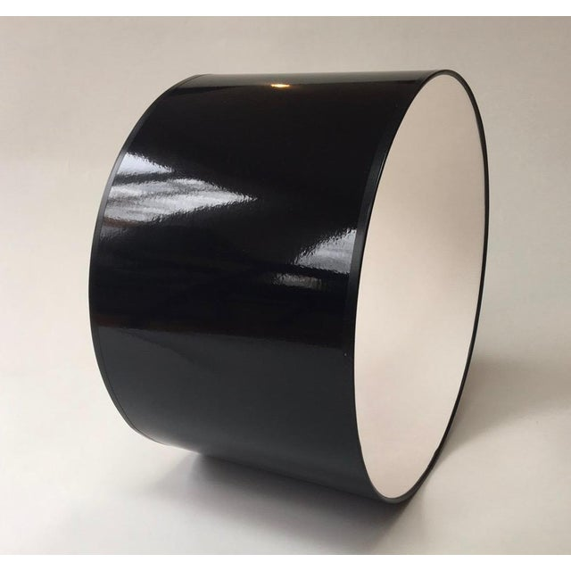 Modern High Gloss Black Drum Lampshade For Sale - Image 4 of 5