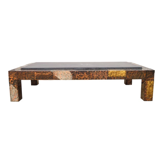 Mid 20th Century Paul Evans Mixed Metal Patchwork Slate Top Coffee Table For Sale