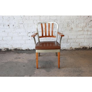 Shaw Walker Maple and Aluminium Armchair with Leather Seat, 1950s Preview