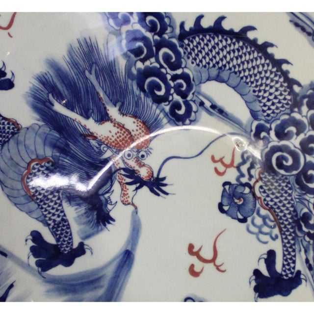 Blue Chinese Blue White Dragon Painting Porcelain Charger Plate Bowl For Sale - Image 8 of 9
