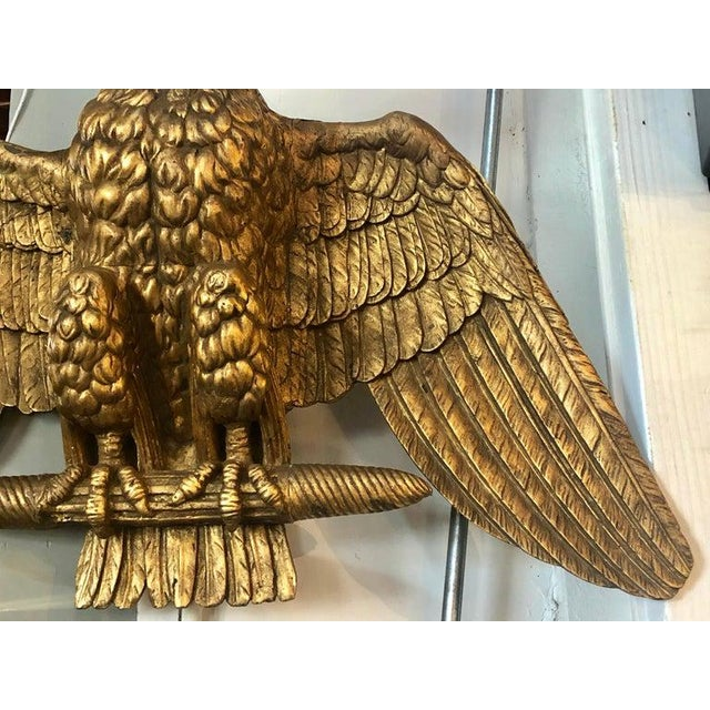 19th Century Giltwood Federal Carved Wall Sculpture of an American Eagle For Sale - Image 4 of 10