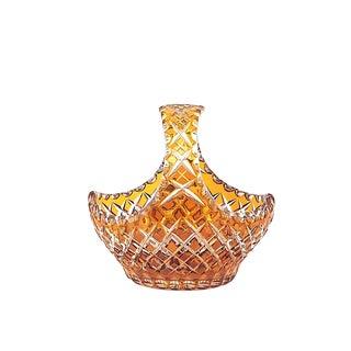 1940's Vintage Amber Cut Glass Basket For Sale