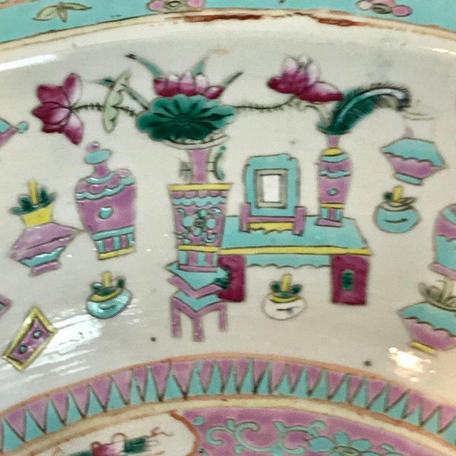 Large Qing Dynasty Famille Verte Peacock and Vase Motif Bowl For Sale - Image 10 of 13