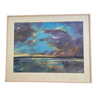 """1990s """"Summer Clouds"""" Seascape Pastel Drawing by Jurgen Geith, Framed For Sale"""