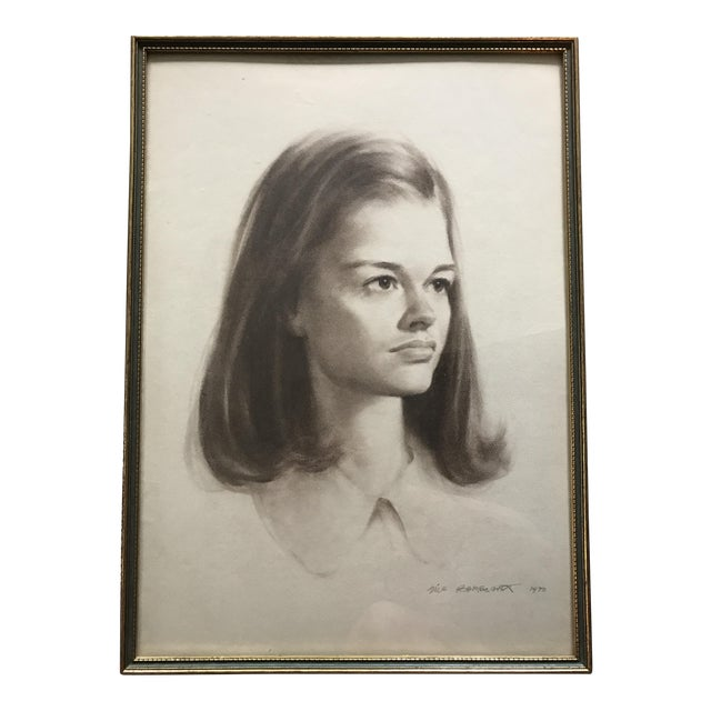 Vintage Portrait Drawing of Girl - Image 1 of 5