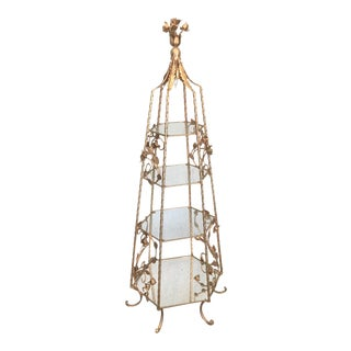 Vintage Floral Gilt Obelisk Lighted Étagère For Sale