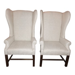 Modern Restoration Hardware French Wingback Chair- A Pair For Sale