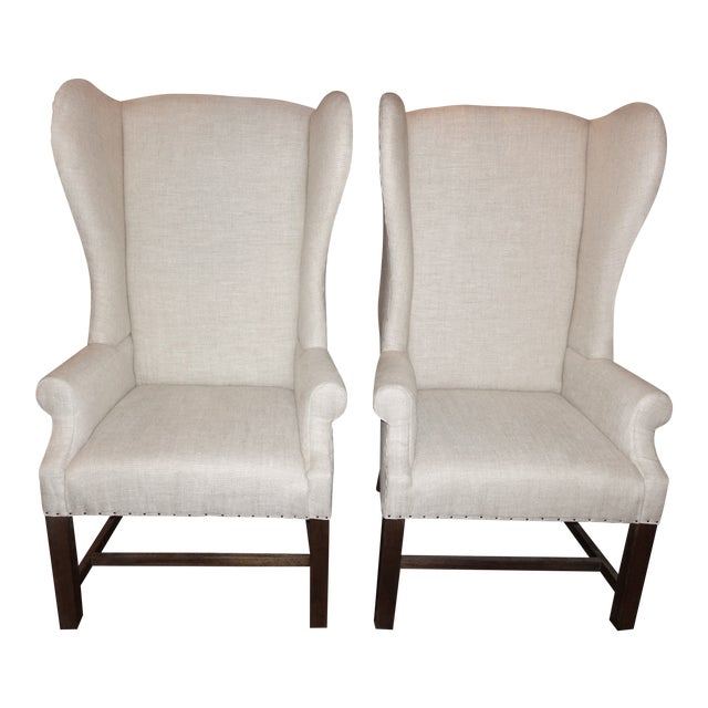 Modern Restoration Hardware French Wingback Chair A Pair Chairish