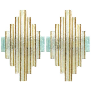 Pair of Stacked Diamond Murano Wall Sconces by Poliarte For Sale