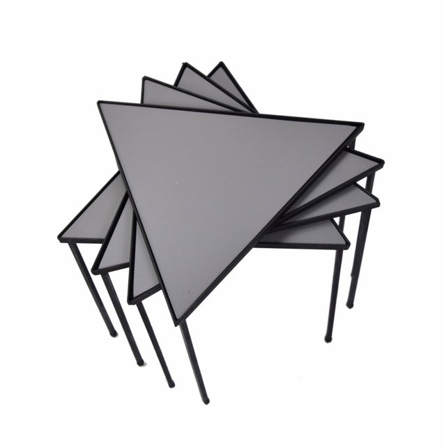 Mid-Century Modern 1960s Mid-Century Modern Triangle Stacking Side Tables - Set of 4 For Sale - Image 3 of 8