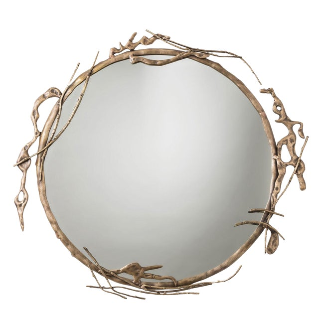 Transitional Arteriors Home Brass Ivy Wall Mirror For Sale