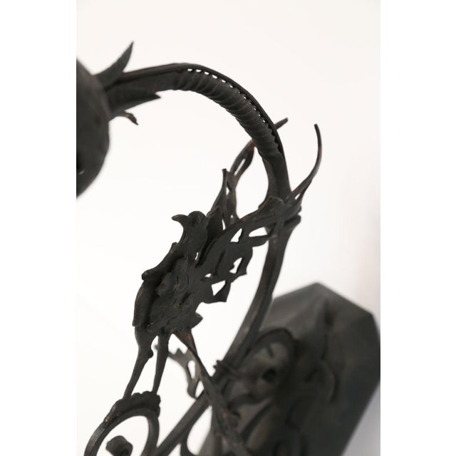 Gothic Forged Single Iron Sconce in the Manner of Gilbert Poillerat For Sale - Image 3 of 8
