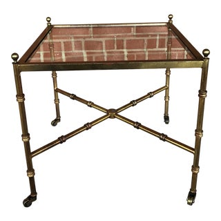 Vintage Faux Bamboo Metal and Glass Side Table For Sale