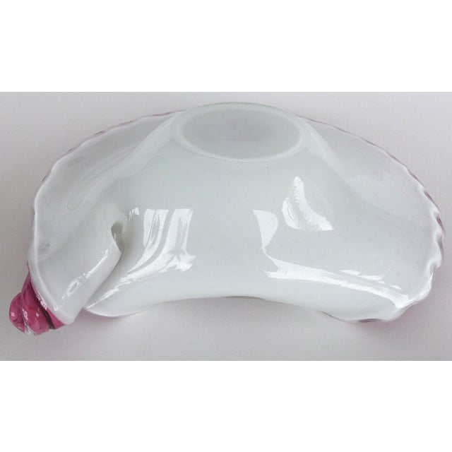 White Murano Art Glass Bowl w/ Bubbles in Cranberry For Sale - Image 8 of 9