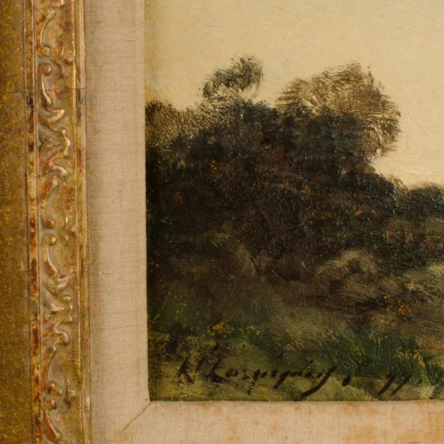 """Early 20th Century """"Lonely Church"""" Landscape Oil Painting, Framed For Sale In Philadelphia - Image 6 of 10"""