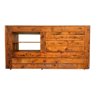 Vintage Reclaimed Wood Sales Retail Counter For Sale