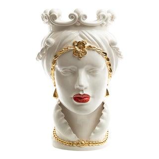 24 Karat Gold Sicilian Gigante Head, Schittone Modern Regina For Sale