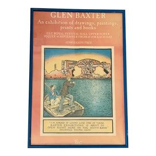 1980s Glen Baxter Royal Festival Hall London Exhibition Framed Poster For Sale