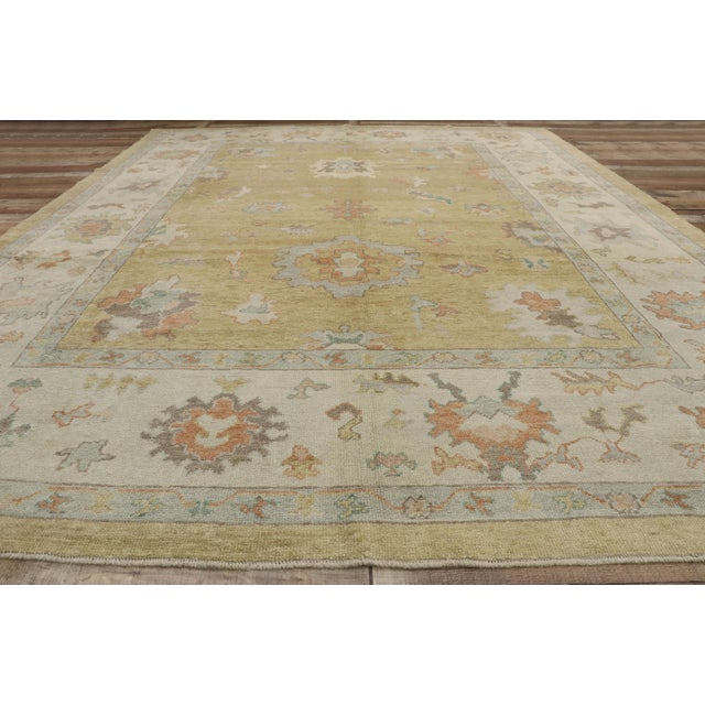 Textile Contemporary Turkish Oushak Rug - 10′2″ × 13′2″ For Sale - Image 7 of 10