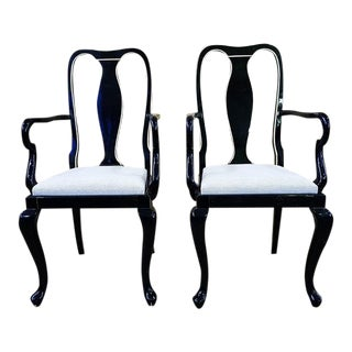 Antique Queen Anne Style Black Lacquer Accent Side Chairs - a Pair
