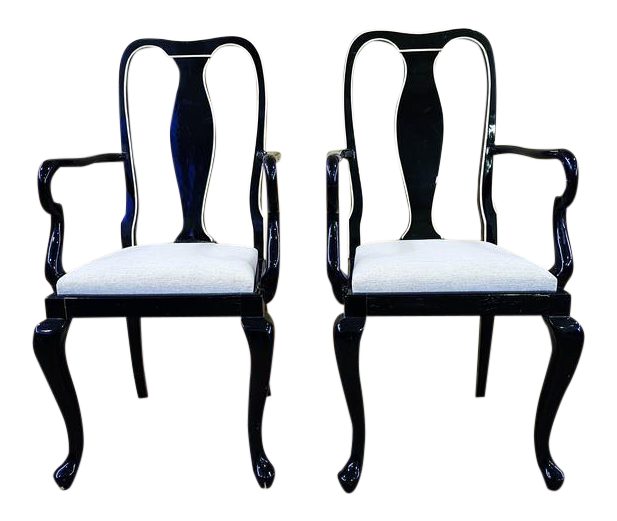 Antique Queen Anne Style Black Lacquer Accent Side Chairs   A Pair |  Chairish