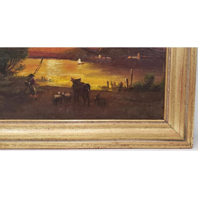 Late 19th Century 19th Century Luminous Sunset Over Mountain Lake Oil Painting For Sale - Image 5 of 10