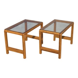 1970s Vintage Pencil Reed Bamboo Side Tables-a Pair For Sale