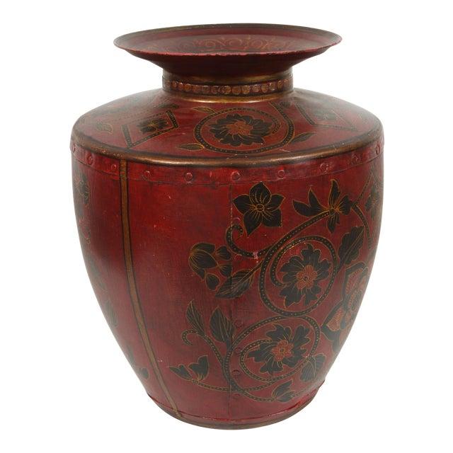 Kashmiri Indo-Raj Red Hand-Painted Metal Jar Vessel For Sale