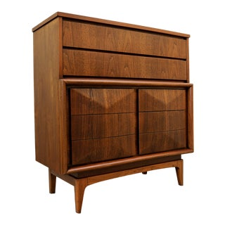 Mid Century Diamond Front Walnut Highboy by United Furniture For Sale