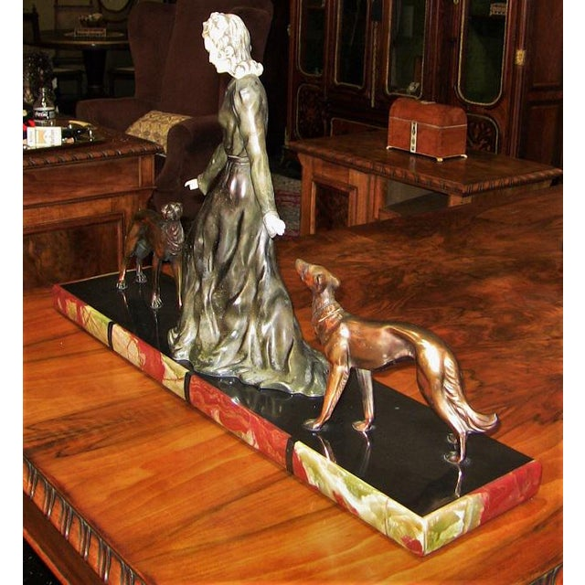 Large Art Deco Sculpture of Bronze Lady With Dogs on Marble Base - Impressive and Important For Sale - Image 4 of 11