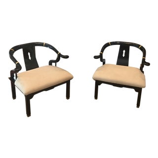 1970s Mid Century James Mont Black Lacquer Horseshoe Chairs - a Pair For Sale
