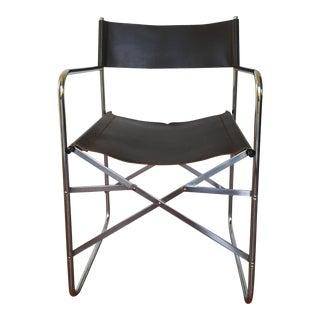 1980s Vintage Chrome Folding Directors Chair For Sale