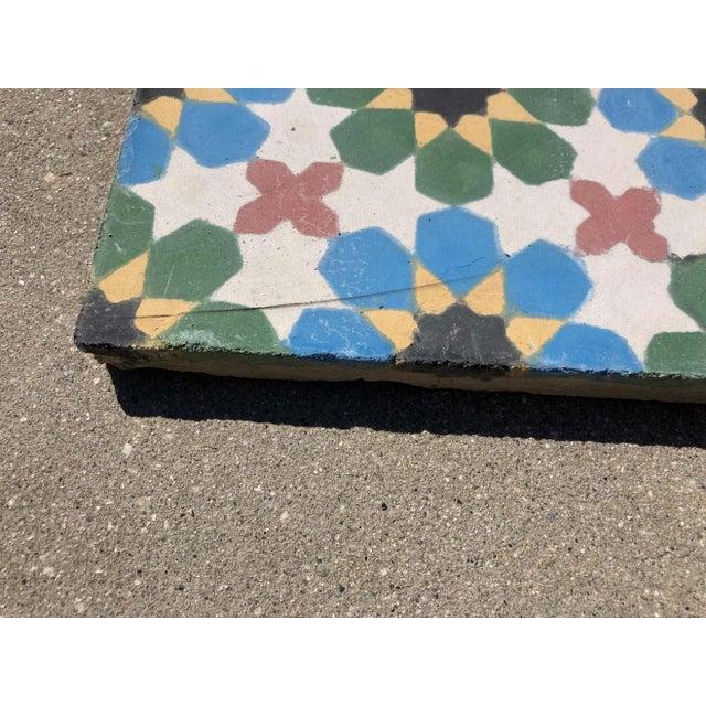 Blue Moroccan Encaustic Cement Tile Border with Moorish Fez Design For Sale - Image 8 of 13