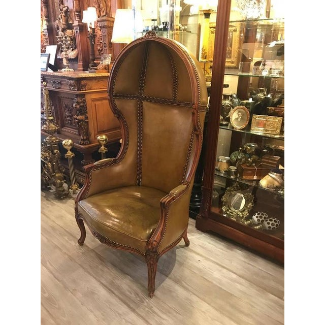 Gothic Louis XV Style Carved Beechwood & Leather Porter Chair For Sale - Image 3 of 12