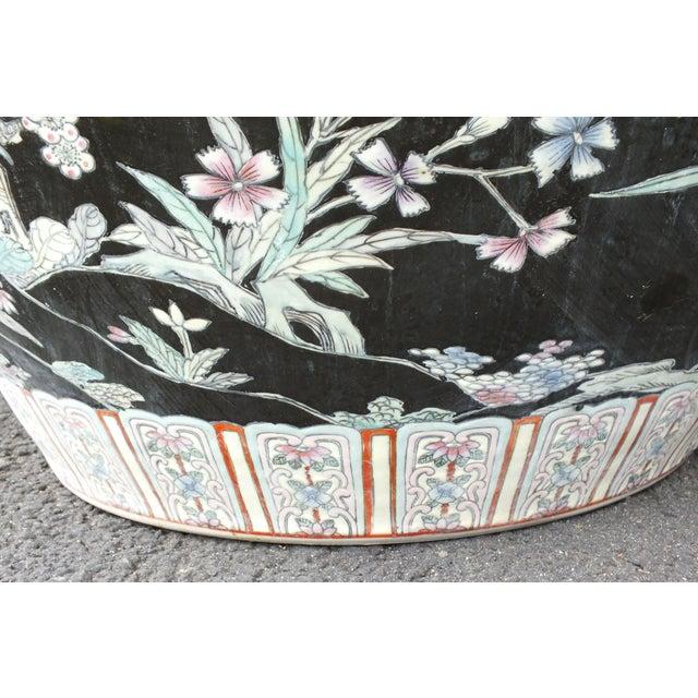 Black Qianlong Chinese Famille Noir Fish Bowl Planter For Sale - Image 8 of 11