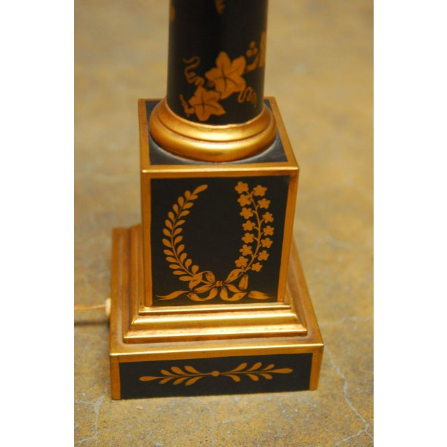 French Empire Neoclassical Tole Lamp - Image 4 of 5