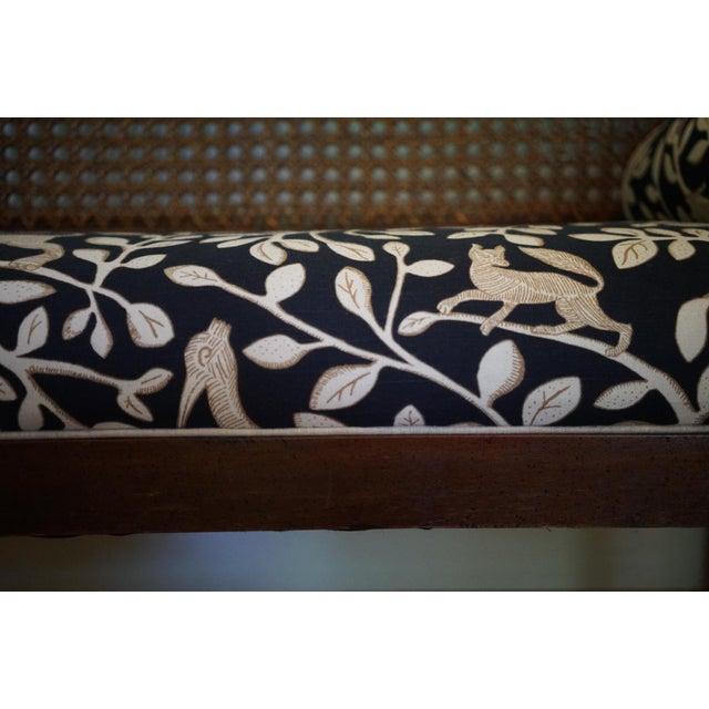Mid-Century Robert Allen Upholstered Cane Settee For Sale - Image 9 of 13
