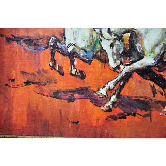 Paint Vintage Retro 70s Baroque Framed Boots Print Horses on Red by H Faust For Sale - Image 7 of 13